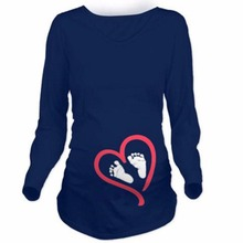 Maternity Pregnancy Clothes Cute Baby Foot Print Tee Sweater Hoodie Maternity Long Sleeve T Shirt Funny