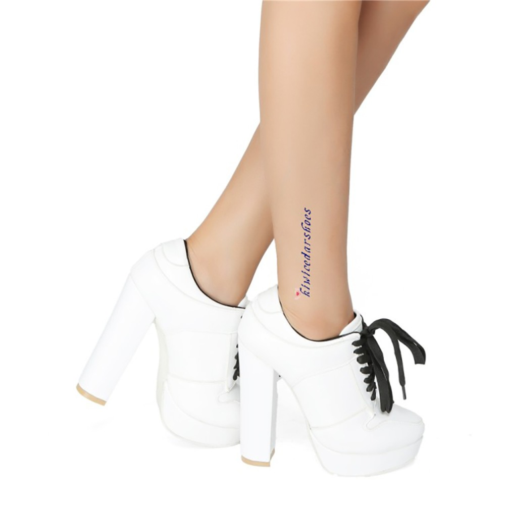 2018 New Arrival Women 39 s Thick Heel Boots Lace up X cross Sport style Night club Party Shoes Big size Winter Fashion Shoes N063 in Ankle Boots from Shoes