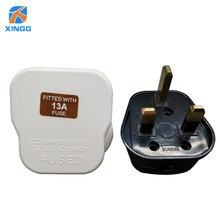 XINGG 13A UK Plug de 3 Pinos Adaptador de Alimentação 250 V Plugue Elétrico Certificação BS Ligação Cabo Adaptador de Tomada