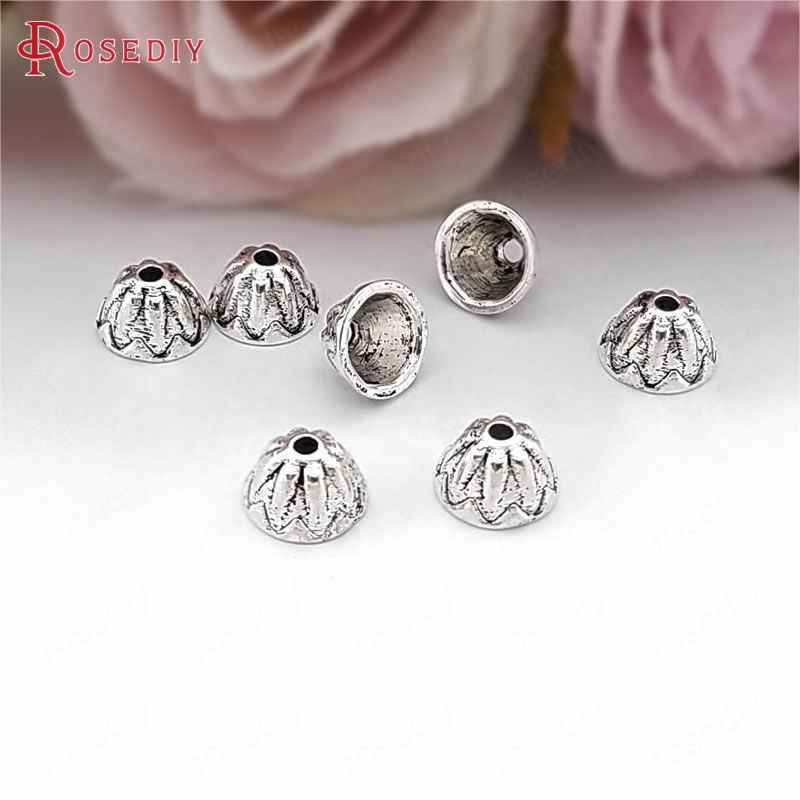 (31603) 50 piezas 7MM 4MM de altura de cuentas de aleación de Zinc de plata antigua tapas de borlas accesorios de joyería Diy accesorios al por mayor