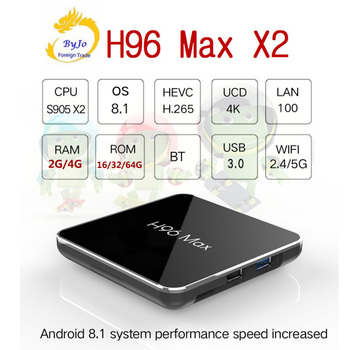 H96 Max X2 4 K boîte 2.4G 5 GHz Wifi Bluetooth Set Top box S905X2 Smart tv box android 8.1 Android tv box 2G ou 4G DDR4 32G ou 64G