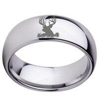 Mens Womens Xmas Deer Laser Ring 8mm Plain Dome Polish Tungsten Carbide Wedding Engagement Band Size