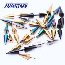 Wholesale 8pcs Unisex Stainless Steel Spike Tragus Stud Earrings 4 colors mix Rock Punk Stud Earrings Body Piercings Jewelry