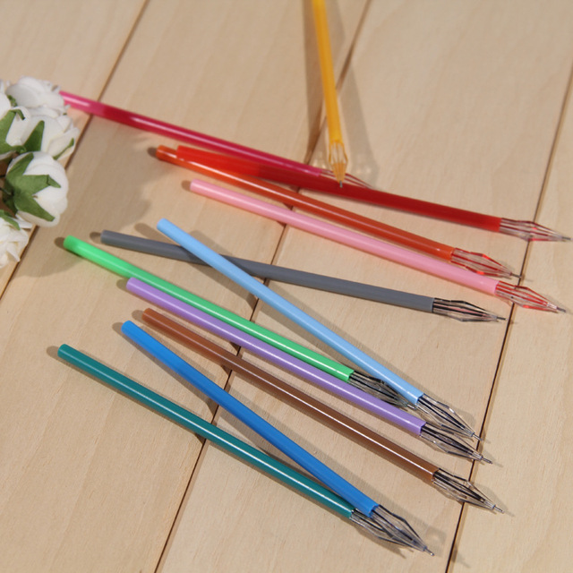 12 Pcs/Lot Diamond Head Refill Creative Stationery Candy Color Roller Ball Gel Pen Refill The Core 0.38mm Office School Supplies Banner Pens