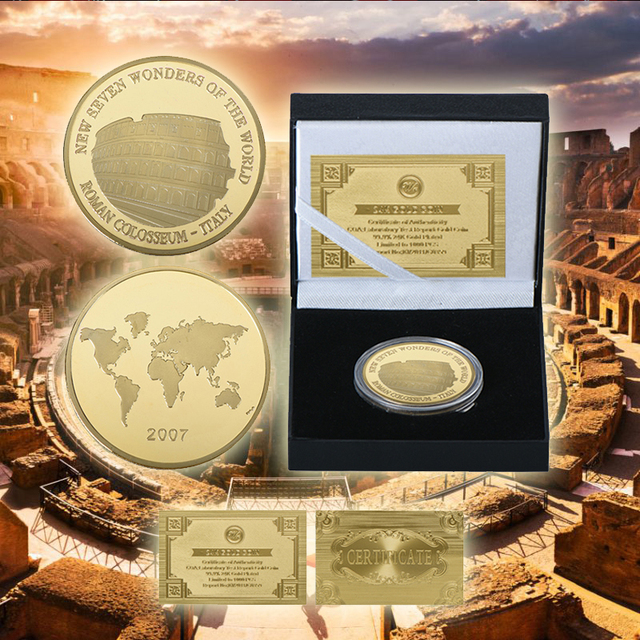 US $9 44 41% OFF|WR Roman Colosseum Gold Plated Commemorative Coin Italy  Famous Building Gold Replica Coins Collectibles for Collection-in