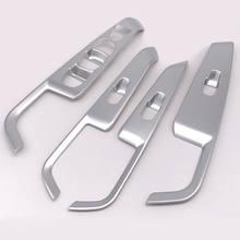 Wnętrza samochodu srebrny/węgla 4 sztuk podłokietnik drzwi podnośnik szyby osłona przycisku wykończenia ramki dla Nissan Kicks 2017 samochodów stylizacji akcesoria