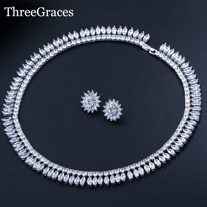 ThreeGraces Luxury Cubic Zirconia Cluster Water Drop Bridal Choker Necklace Earrings Wedding Jewelry Sets For Women JS059 ящик для игрушек me to you с ручкой розовый 2 л