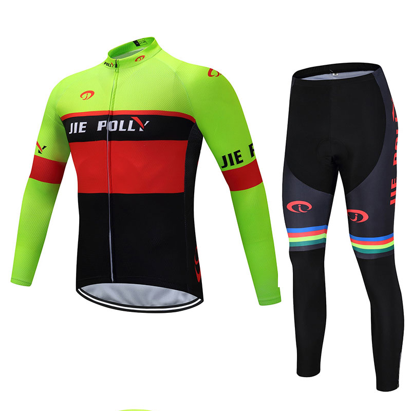 Jiepolly Long Sleeve Bike Clothes Tops Bicycle Cycle Cycling Jersey Sets Quick Dry Breathable Shirts + Bib Shorts Gel Pads ckahsbi winter long sleeve men uv protect cycling jerseys suit mountain bike quick dry breathable riding pants new clothing sets