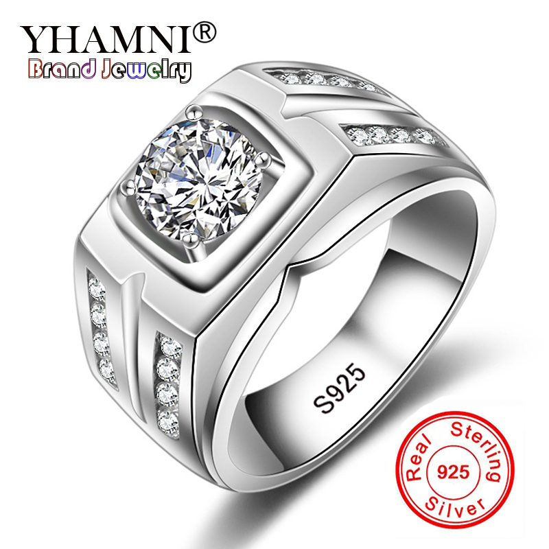 цена на YHAMNI Original Solid 925 Silver Rings For Men Sona 1 Carat Diamant Engagement Rings Cubic Zirconia Wedding Rings Men Jewelry 04