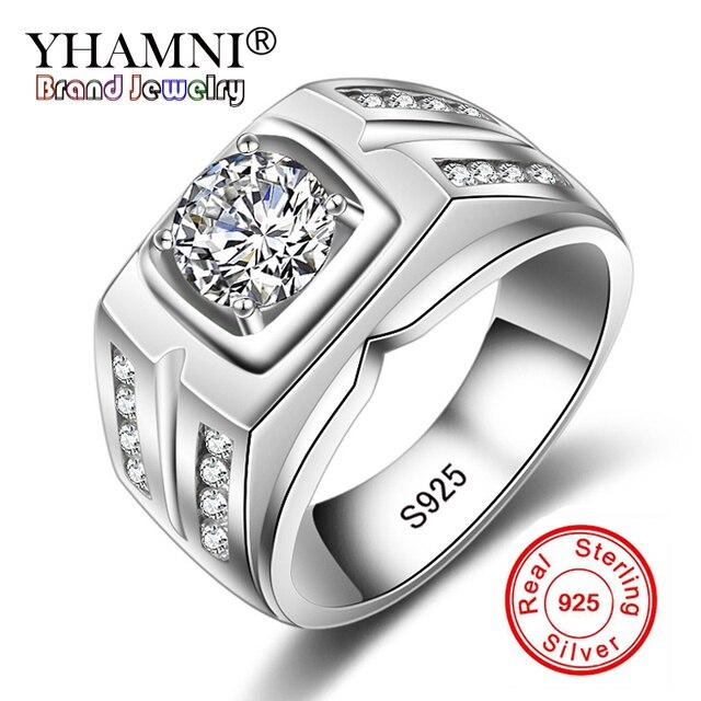 16981f328606b YHAMNI Original Solid 925 Silver Rings For Men Sona 1 Carat Diamant  Engagement Rings Cubic Zirconia