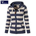Women Striped Zipper Hoodie Sweatshirt Jumper Top Hooded Autumn Winter Brand sweatshirts casual loose Hoodies tops Hot sale