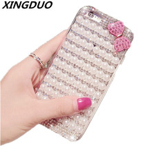 XINGDUO Luxury Pearl Bowknot Mobile Phone Case For iPhone X 5 5s 6 6s 7 8 Plus bling Rhinestone Glitter case for iphone XR XSMAX