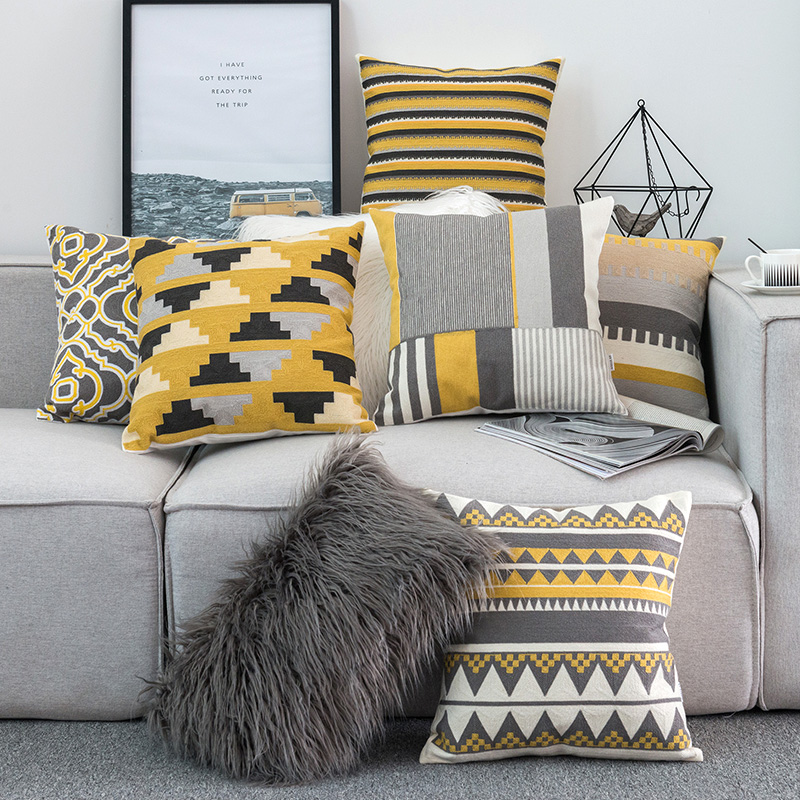 Home Decor Embroidered Cushion Cover Yellow Grey/White Geometric Floral Canvas Cotton Square Embroidery Pillow Cover 45x45cm