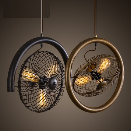 Loft Style Wrought Iron Fan Vintage Pendant Light Fixtures For Dining Room Hanging Lamp Indoor Lighting Lamparas Colgantes