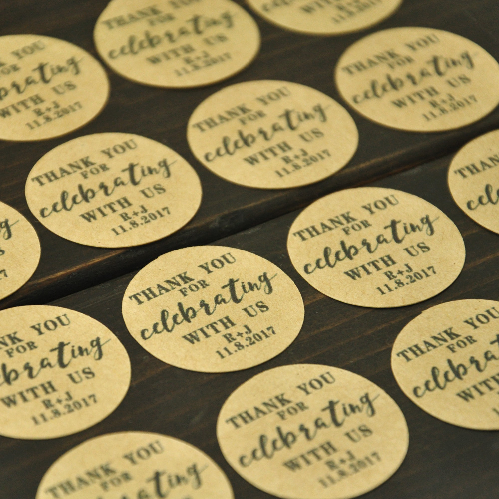 Wedding Favor Stickers Personalized Labels Rustic Design Custom Initials And Date