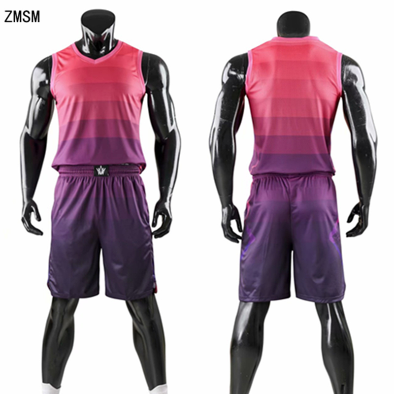 ZMSM Kids Adult Basketball Jerseys Set <font><b>Men</b></font> High quality Basketball Vest & <font><b>Shorts</b></font> Children Basketball <font><b>Suit</b></font> Sports clothes AL1746 image