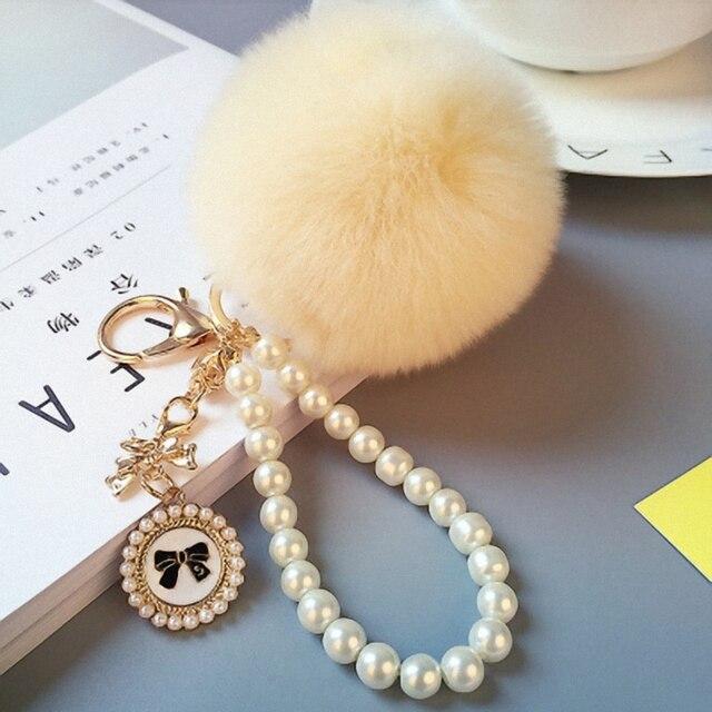 Decoração pérola 8 cm rex pele de coelho pompom bola chaveiros novidade trinket chaveiro holder para mulheres bag & car K030-beige