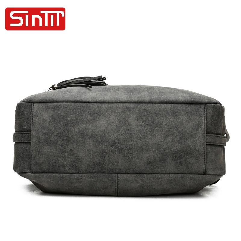 SINTIR Högkvalitativa Nubuck Läder Kvinnor Handväskor Mode Fur - Handväskor - Foto 4