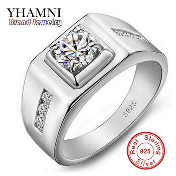 08a28d9f3b8f Promoción! Yhamni 100% plata 925 hombres lujo 6mm 1ct CZ Diamant Anillos de