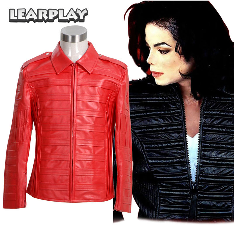 Michael Jackson Jacket Man in the Mirror PU Leather Red Jackets Cosplay Costume Halloween Coat Man Winter Outwear
