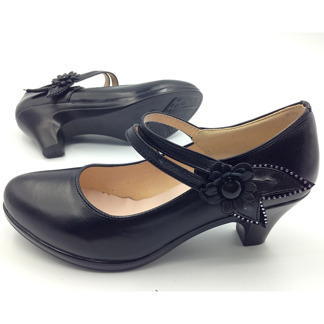 Cow leather Mary Janes Women's High Heels Shoes