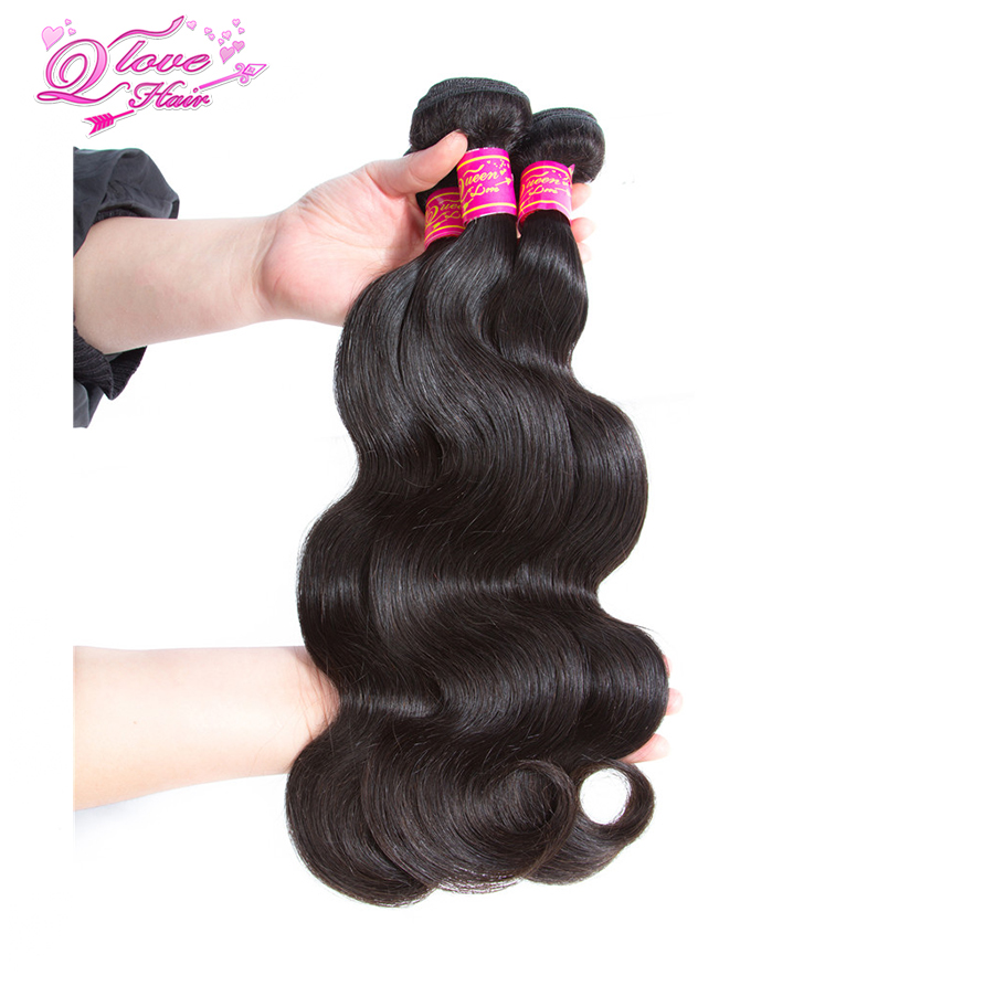 Queen Love Hair Pre-colored Malaysia Body Wave Human Hair Natural Color 3 Bundles 3 Get 1 Free Closure Remy Hair