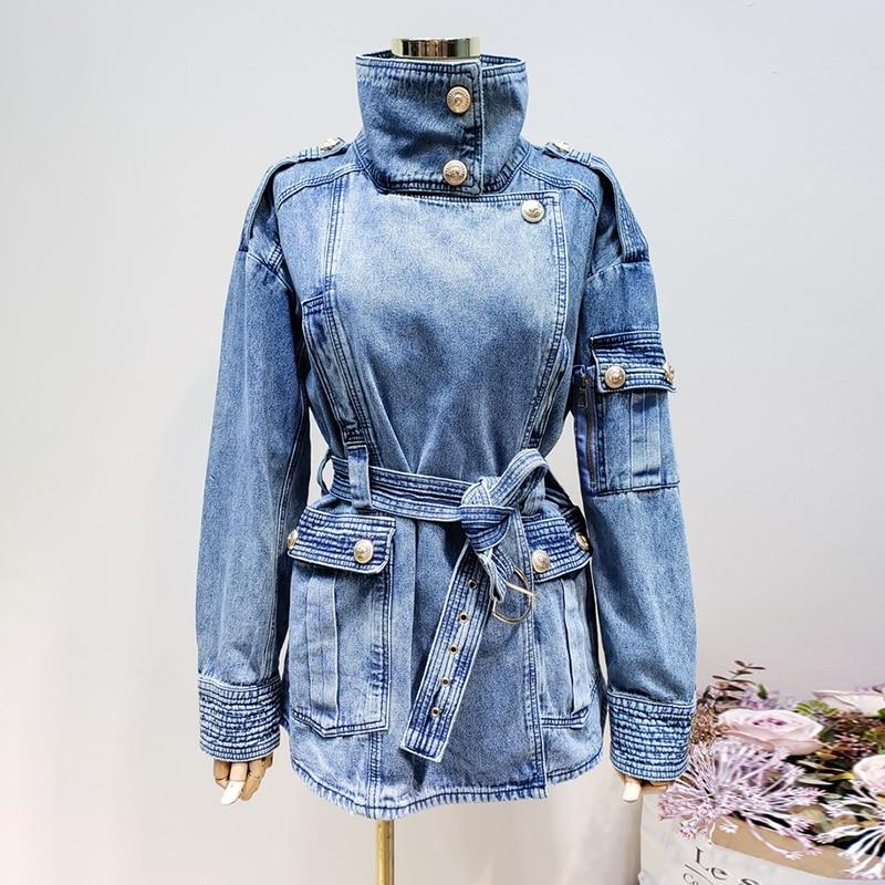 LANMREM Golden Button Turtleneck Vintage Thick Denim Jacket For Women 2019 Spring Long Sleeve Loose Casual