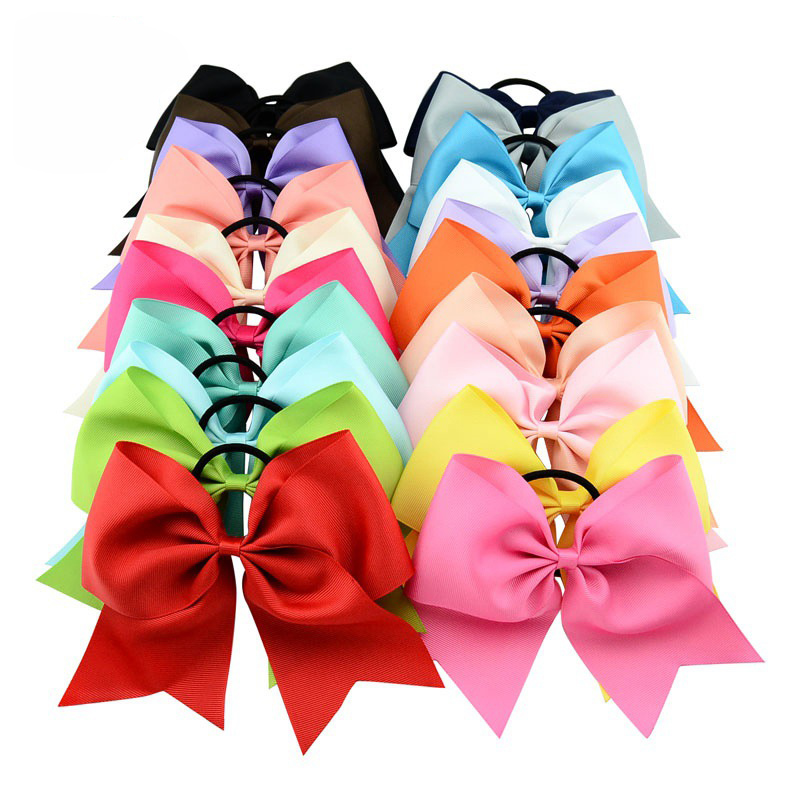 High Quality 20pcs/lot 8 Inch Solid Cheerleading Bow With Elastic Band Ribbon Cheer Bow Ponytail Bands For Girl Hair Accessories 6pcs lot 7 inch sequin bling large cheer bowknot elastic hair band girls cheerleading for girl