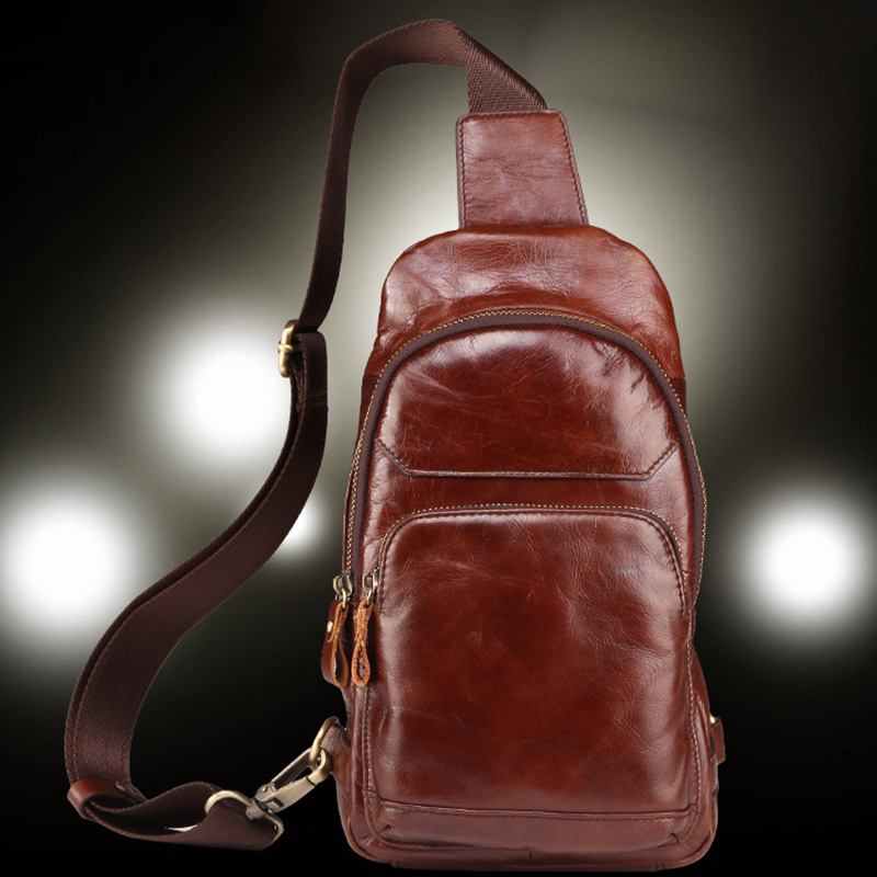 First Layer Cowhide Trend Sling Chest Bags Day Pack Retro Travel Genuine Oil Wax Leather Messenger Single Rucksack Shoulder Bag slow head layer cowhide handbag retro oil wax bag leather bag travel bag