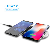 Fast Charger QI Certified 20W 9V Wireless Charger Pad Aluminum Dual Wireless Charging Pad Slim Light Wireless Station for iPhone