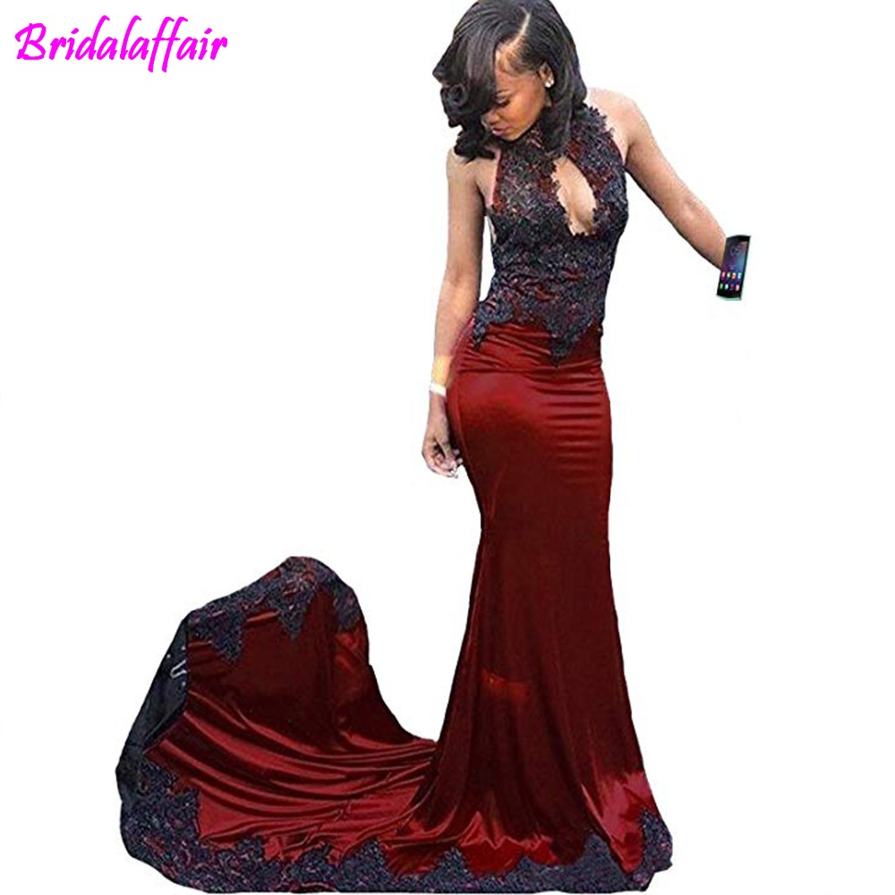 Sexy High Neck Mermaid Lace Prom Dresses Backless Long Party Evenning Gown vestidos de fiestas abiye gece elbisesidress dress