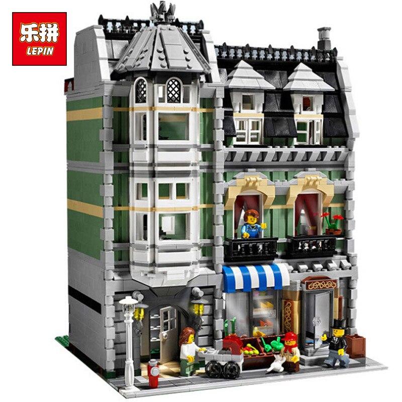 LEPIN 15008 Genuine City Street Green Grocer Model Building Kit Blocks Bricks Toy Gift Compatitive with lego 10185 2462 Pcs конструктор lepin creators зеленая бакалейная лавка 2462 дет 15008