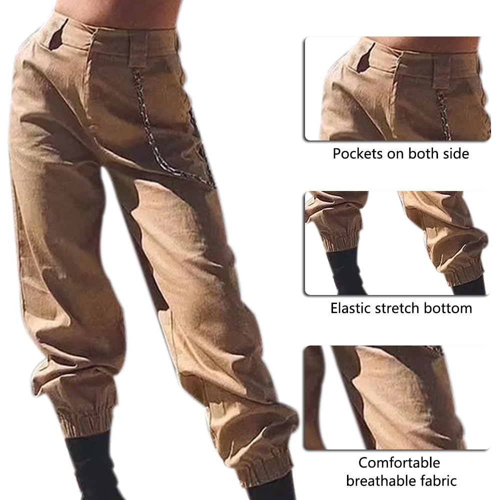 ADISPUTENT High Waist Pants Camouflage Loose Joggers Women Military Pants Streetwear Punk Cargo Pants Women Capris Trousers 23