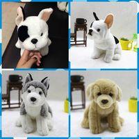 Freeshipping Realista Lindo Perro de Peluche de Juguete 1 UNID Retail Husky Golden Retriever Bulldog animales de peluche suave y cálida niños mascotas regalos