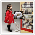 Children Autumn Thick Cotton High Quality Solid Color Trench Coat Jacket for Girls  Kid  Clothing