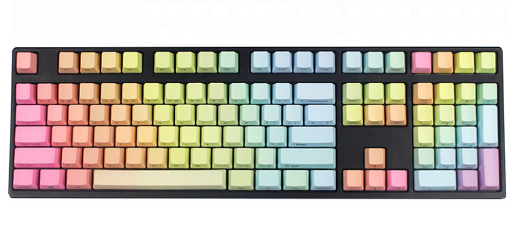 NPKC Rainbow Gradient Keycaps Thick PBT ANSI Layout OEM or Cherry Profile Fit Cherry MX Switches