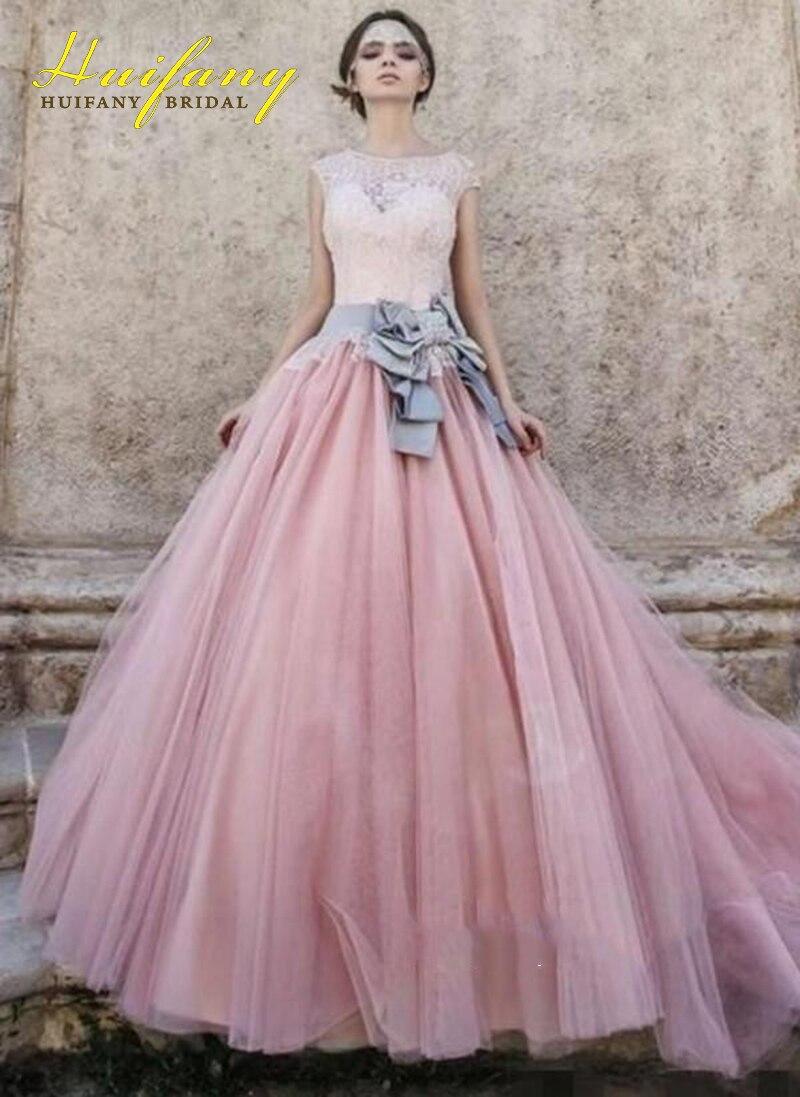 Blush Pink Bridal Wedding Dresses with Sash Bateau Neck Top Lace ...