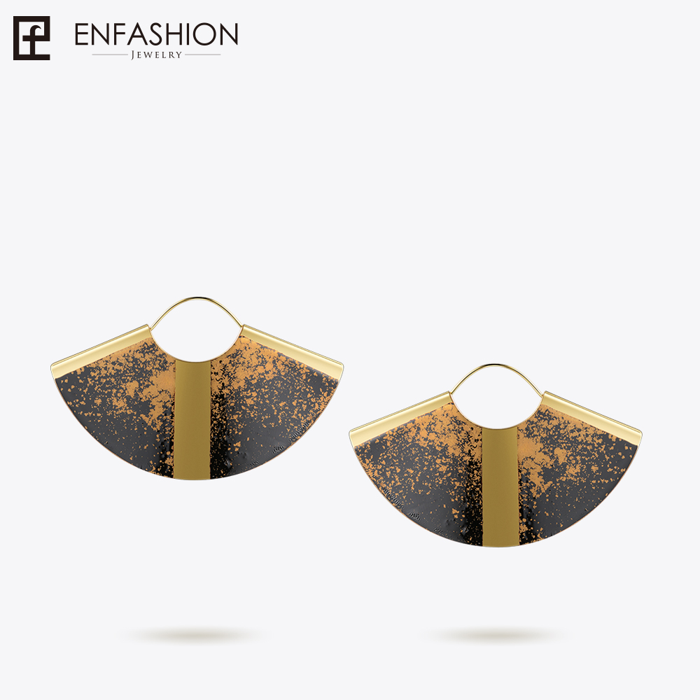 Enfashion Lacquer Art Series Drop Earrings Big Fan Shape Gold color Earrings for Women Original Design Earrings EBQ18LA45 three button design drop earrings