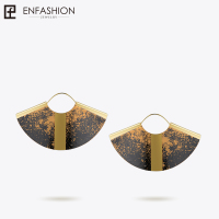 Enfashion Lacquer Art Series Drop Earrings Big Fan Shape Gold color Earrings for Women Original Design Earrings EBQ18LA45