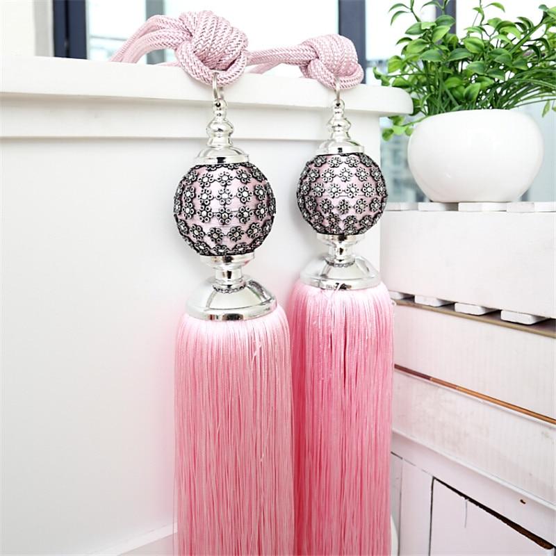 curtain tieback tassels pink 2pcs/lot window luxury sequin curtain ...