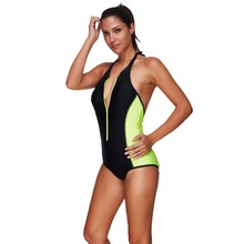 Women Bikini One Piece Zipper Black White