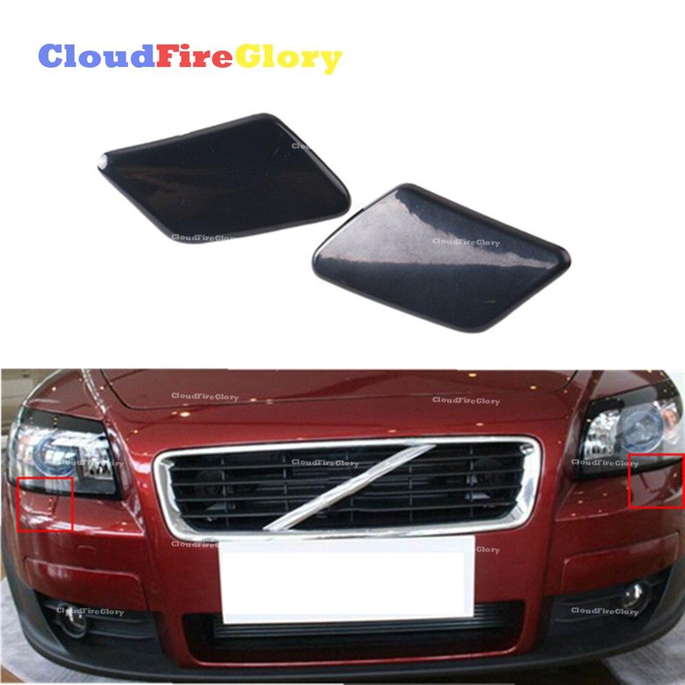 Пара насадок омывателя фар CloudFireGlory для Volvo C30 2008-2010, левый и правый бампер, Неокрашенная насадка 39876478 39876479