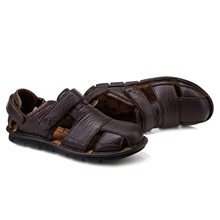 Genuine Leather Summer Shoes Men Sandals Fashion Casual Shoes Male Sandalias Beach Shoes Soft Bottom Breathable Men Slipp