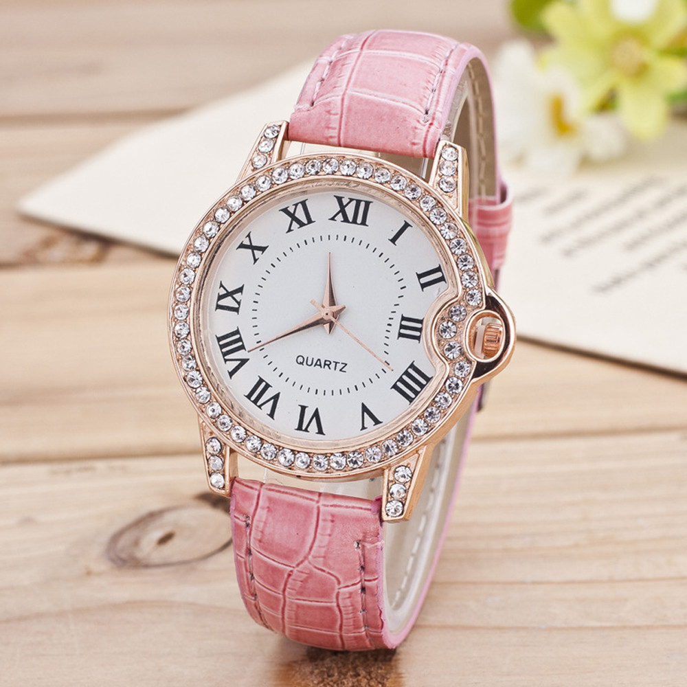 High Quality Ladies Watches Fashion New Geneva Women Watch Leather Band Stainless Steel Quartz Analog Wrist Watch Top Gift @F