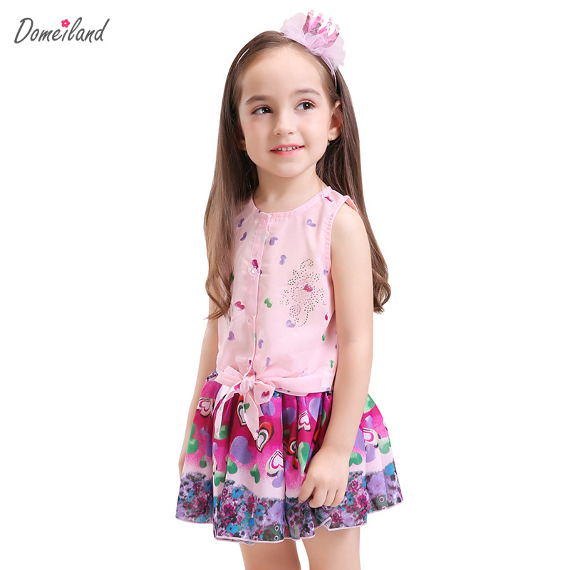2017 fashion summer domeiland children clothing sets kid girl outfits sleevless cotton Chiffon Cardigan tops skirt suits clothes two pieces kid girl set tutu summer flower cotton t shirt tutu skirt sets children outfits dance party prom clothing