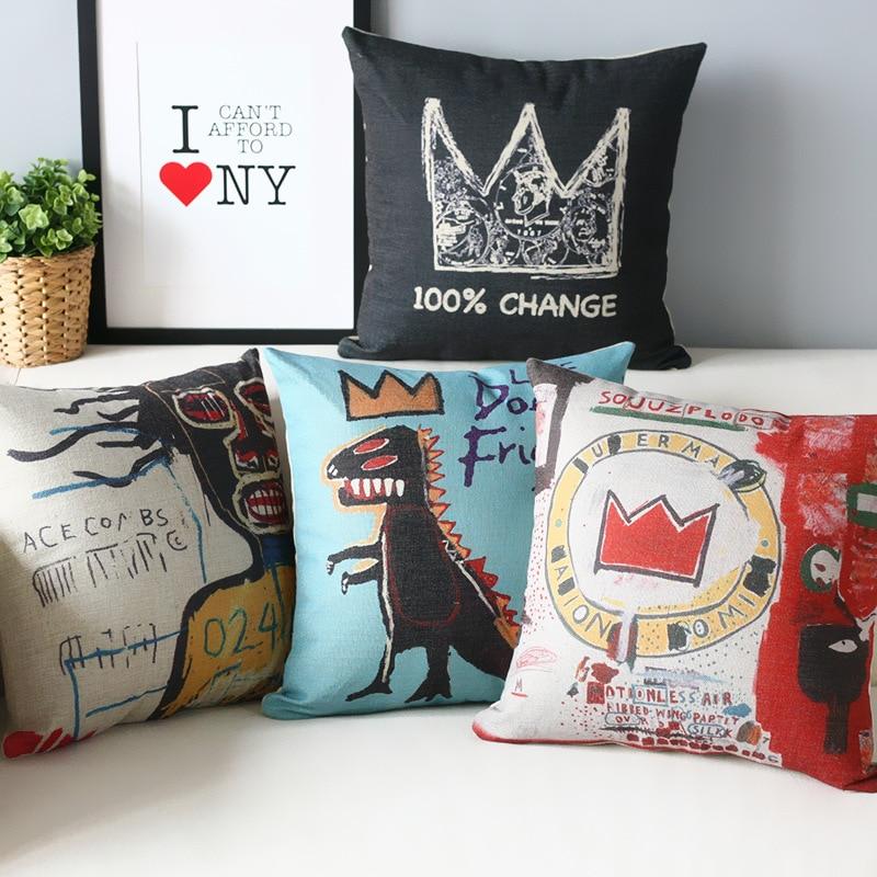 Wholesale Basquiat Graffiti Pillow Cover Linen Cotton Decorative Cushion Cover Decorative Throw Pillows Pillowcase 45cm