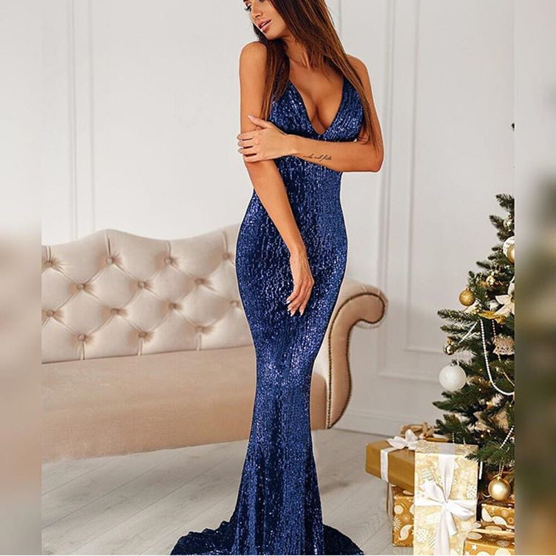 Sexy Open Back Navy Blue Sequined Maxi Dress Lining Strapless Deep V Neck Sleeveless Floor Length