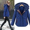 2016 New Fashion Leather Splice Winter Women Jacket  Warm Slim Coat Plus Size Hooded Overcoat Casual Outwear Hot Sale B732