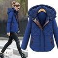 2016 Nueva Moda chaqueta de Las Mujeres Calientes Del Invierno de Empalme de Cuero Delgada Capa Más Tamaño Abrigo Con Capucha Casual Outwear Venta Caliente B732
