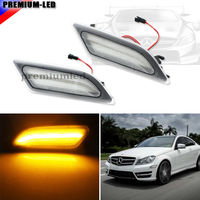 2 Euro Clear Lens Amber LED Side Marker Lights For Mercedes Benz 2012 2014 W204